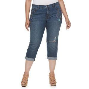 Jennifer Lopez Boyfriend Capri Beaded Denim Jeans